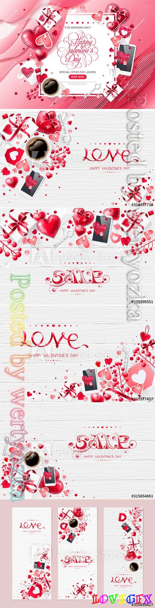 Valentine day love cup coffee lettering web brochure flyer