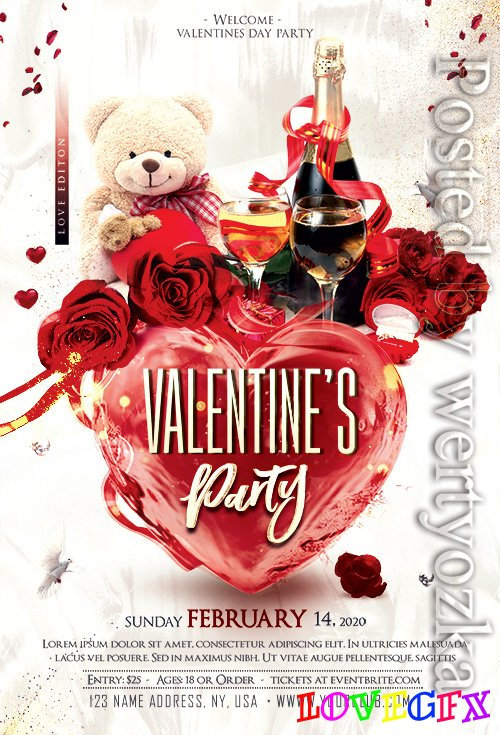Valentines Love Party - Premium flyer psd template