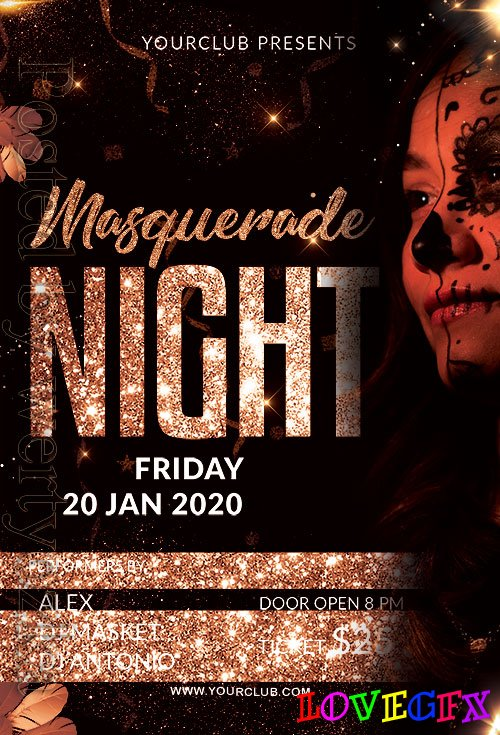 Masquerade Night - Premium flyer psd template