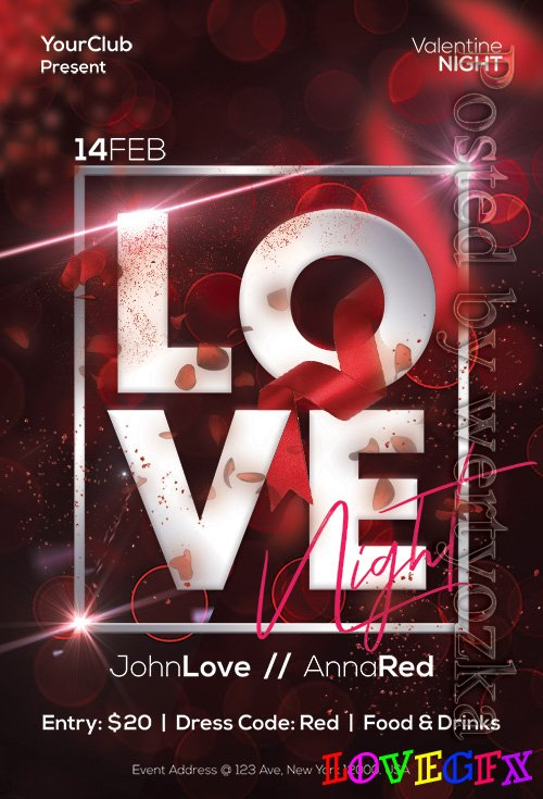 Love Night - Premium flyer psd template