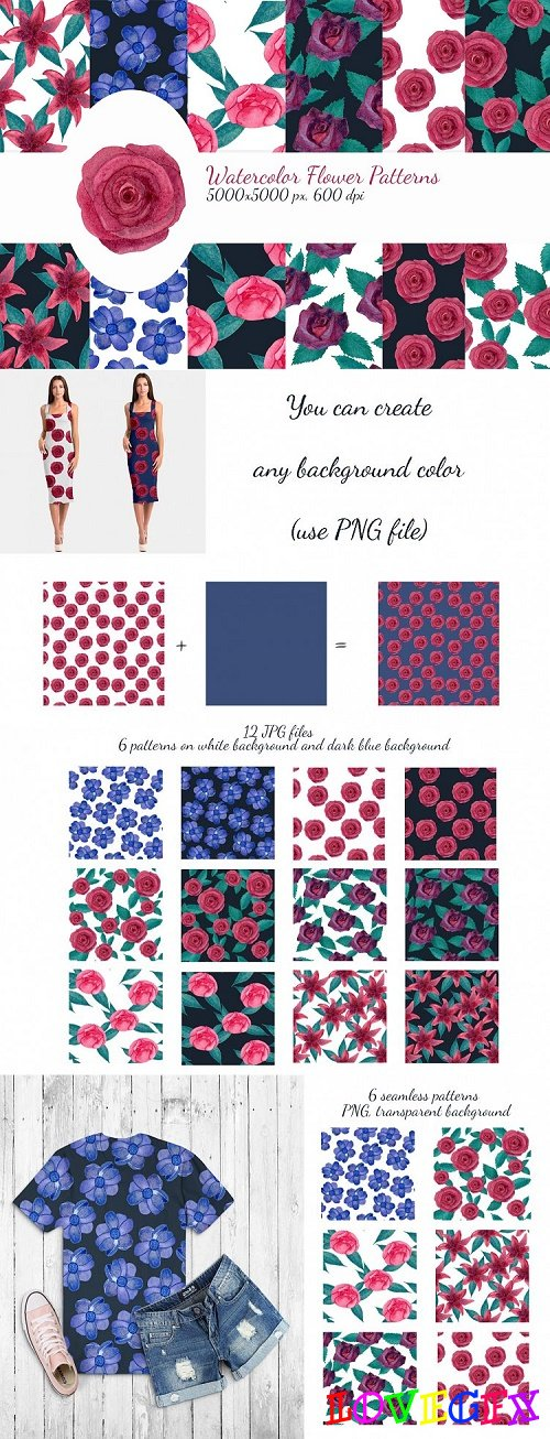 Watercolor flower pattern - 429514