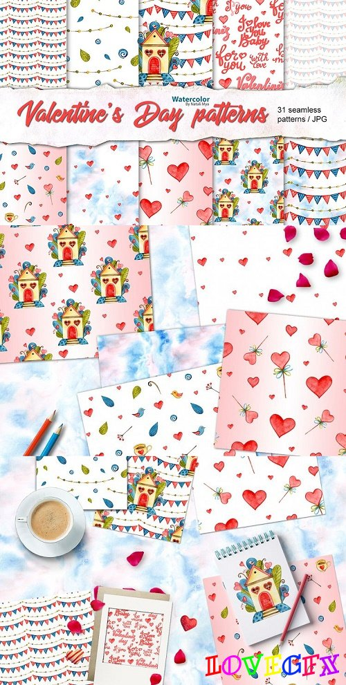 Watercolor Love seamless patterns - 57599