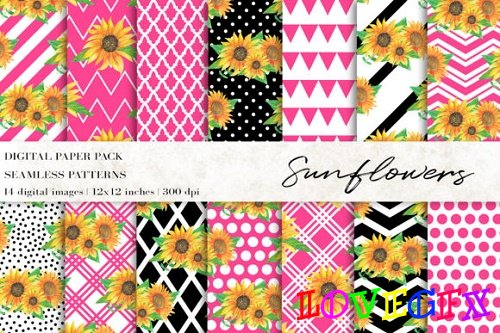 Watercolor Sunflowers Digital Papers