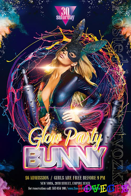 BOF Bunny Glow Party - Premium flyer psd template