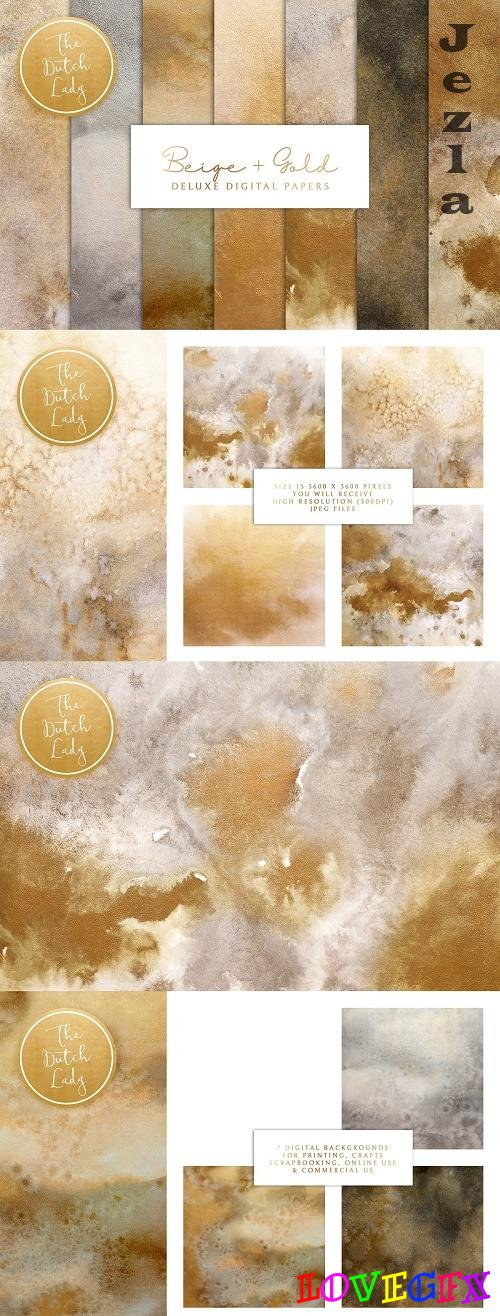 Beige & Gold Digital Backgrounds - 4751737