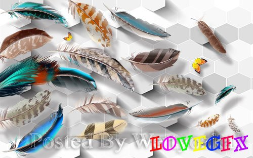 3D models modern minimalist stereo color feather tv background wall