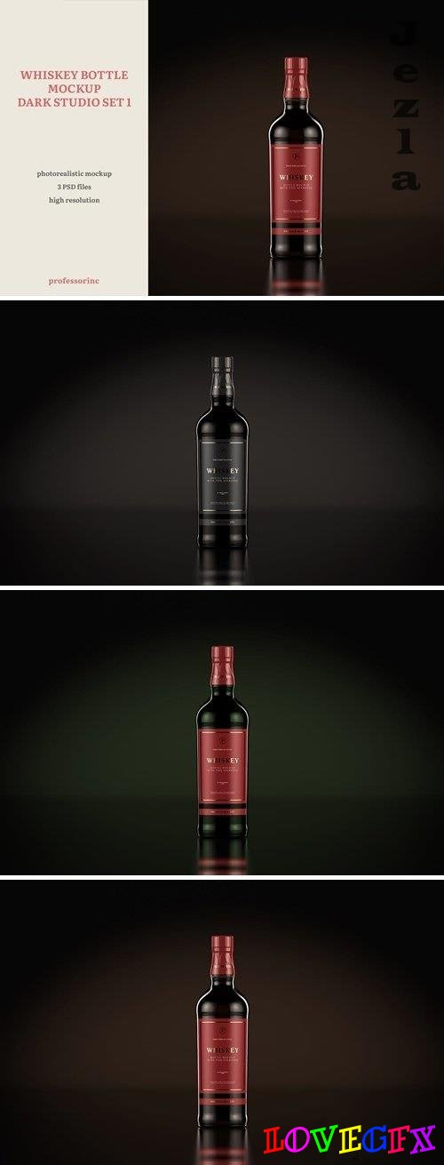Whiskey Bottle Mockup - Dark Studio Set 1