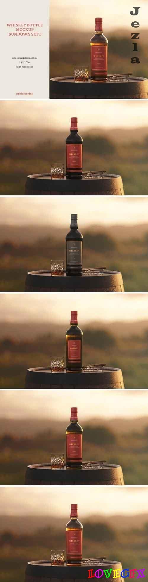 Whiskey Bottle Mockup - Sundown Set 1