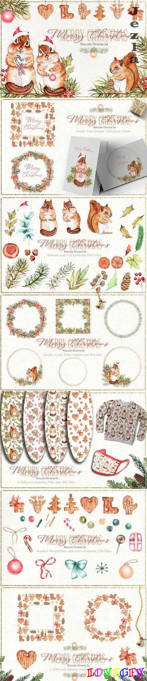 Merry Christmas Watercolor Set - 5436836