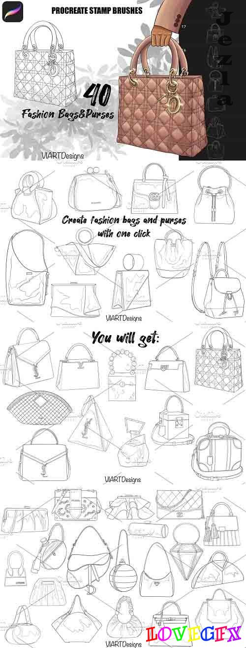 Fashion bags & purses stamps Procreate - 5915833
