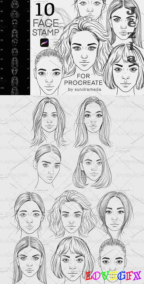 Face Stamp Brushes Procreate - 5909479